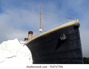 Pigeon Forge, Tennessee, United States-July 9, 2017:  The Titanic Museum in Tennessee showing the replica of the Titanic hitting an iceberg