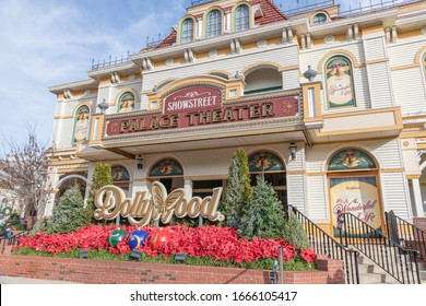 Pigeon Forge, TN:  December 28, 2019:  Dollywood theme park in the city of Pigeon Forge.  Dollywood is a major tourist attraction in Tennessee.