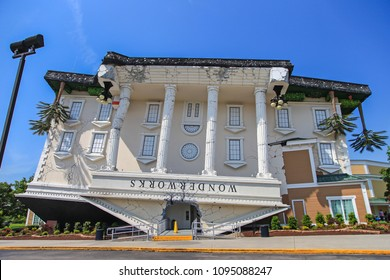 PIGEON FORGE,TENNESSEE,USA - MAY 11,2015 : Upside down building in Pigeon Forge, Tennessee ,Building of WonderWorks, an amusement park ,landmark and major tourist attraction in Pigeon Forge,Tennessee
