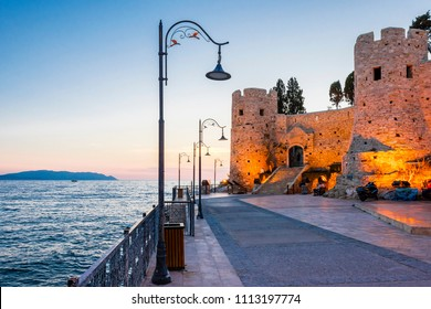 Pigeon Island and Castle night view in Kusadasi Town in Turkey
