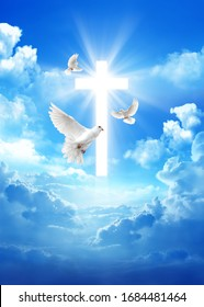 Pigeon over a cross in the cloudy sky background with light rays