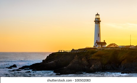 Pigeon Pight Lightouse at sunset, California, USA.