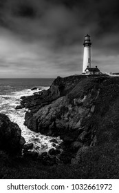 Pigeon Point Lighthouse California in Black and White