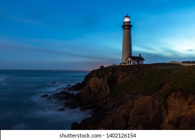 Pigeon Point Lighthouse in California at night