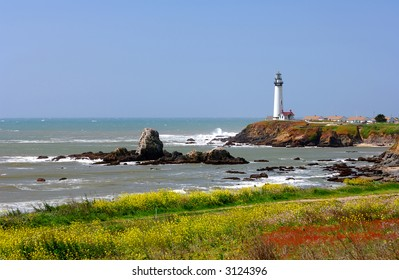 Pigeon Point Lighthouse Located Along The Central California Coast