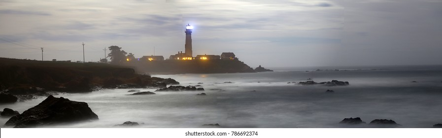 Pigeon Point Lighthouse at night - Long exposure image -