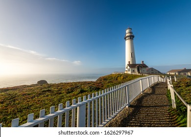 Pigeon Point Lighthouse in Pescadero at Sunrise