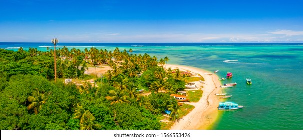 Pigeon Point, Tobago, Trinidad and Tobago, Caribbean, West Indies, small beach in Trinidad and Tobago with an amazing lagoon, aerial panorama view.