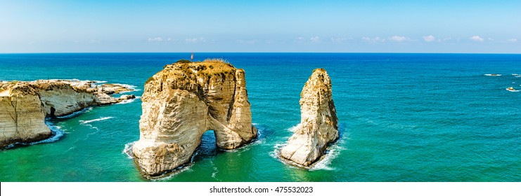 Pigeon Rocks in Raouche, Beirut, Lebanon.