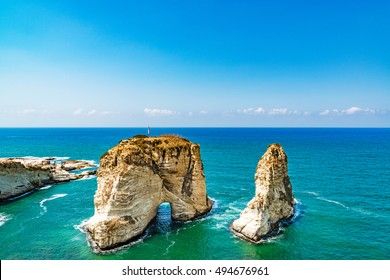 Pigeon Rocks in Raouche, Beirut, Lebanon.
