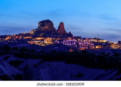 Pigeon Valley in Cappadocia, Turkey during twilight time