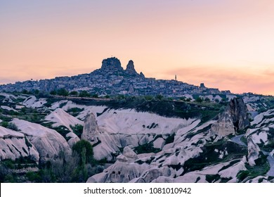 Pigeon Valley in Cappadocia, Turkey during sunset time