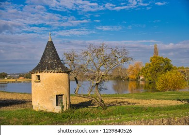 Pigeonnier and a lake outside a small village in the Tarn in Southern France