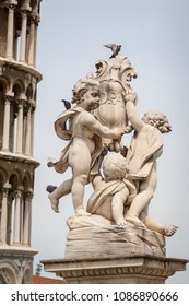 Pigeons on the La Fontana dei putti or The Fountain with Angels on the Piazza dei Miracoli in Pisa, Italy.