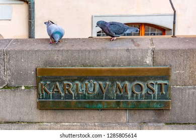 Pigeons on the railing of the Charles Bridge and Sign with the lettering Karluv Most in Prague, Czech republic