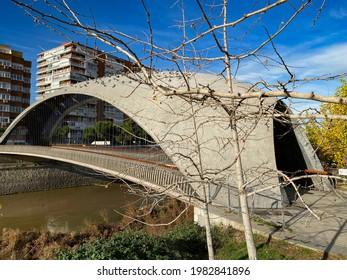 Pigeons sunbathing on a bridge in Madrid Rio Park in Madrid, Spain