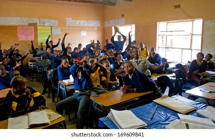 PIGGS PEAK, SWAZILAND-JULY 29: Unidentified Swazi schoolboys on July 29, 2008 in Nazarene Mission School, Piggs Peak, Swaziland. Close to 10% of Swaziland�s population are orphans, due to HIV/AIDS.