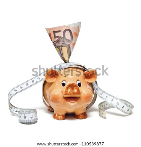 Piggy Bank 50 Euro Note Tape Stock Photo Edit Now 110539877