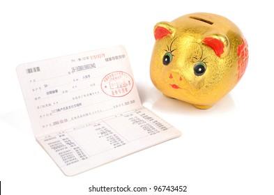 Piggy bank and bankbook