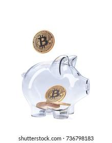 Piggy Bank with Bitcoins. 3D illustration