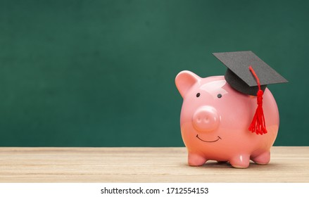 Piggy bank and black graduate hat isolated on white background. Green school board background