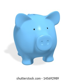 Piggy bank - blue pig on white background