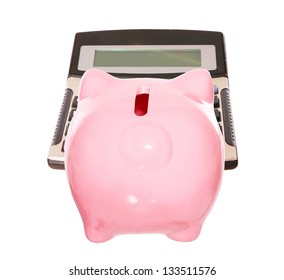 Piggy bank with calculator . style money box. isolated on white studio background