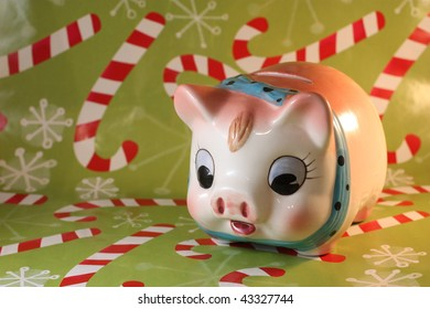 Piggy Bank with Candy Cane Background