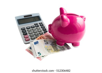 piggy bank with cash and calculator