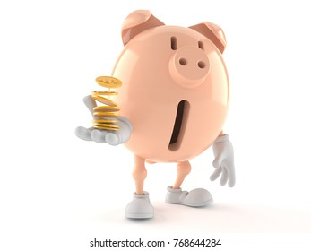 Piggy bank character with stack of coins isolated on white background. 3d illustration