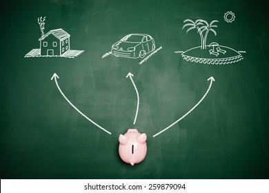 Piggy bank choosing his financial goals