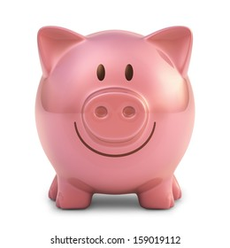 Piggy bank with clipping path included.