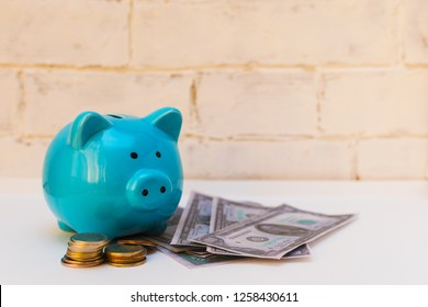 piggy Bank with coins and dollars on white background