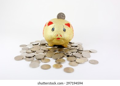 piggy bank and coins on white background