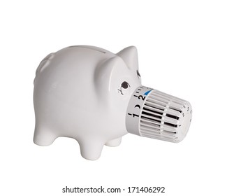 piggy bank concept saving heating and electricity costs