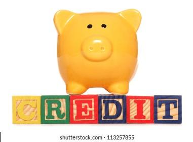 Piggy bank with credit text studio cutout