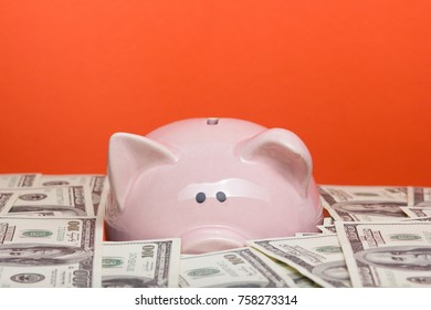 piggy bank and dollar cash money. business, finance, investment, saving and corruption concept