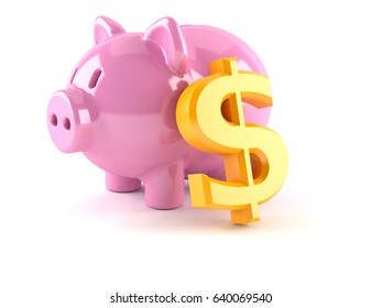 Piggy bank with dollar currency symbol isolated on white background. 3d illustration