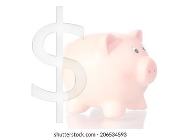 piggy bank with dollar symbol cut off