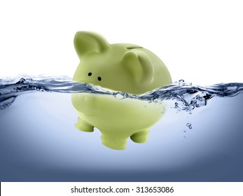 piggy bank drown in water