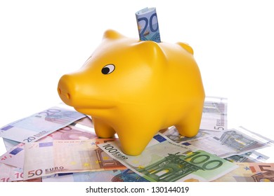 Piggy bank with euro banknotes / Piggy bank