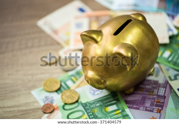 Piggy bank with euro on wooden table, finance concept