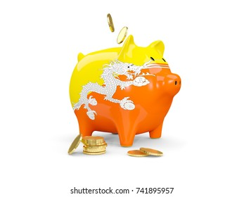Piggy bank with flag of bhutan and coins isolated on white. 3D illustration
