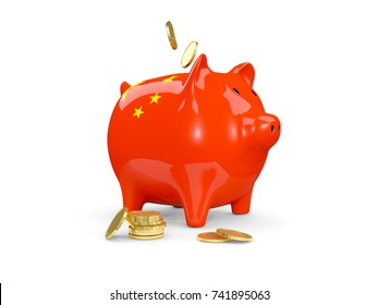 Piggy bank with flag of china and coins isolated on white. 3D illustration