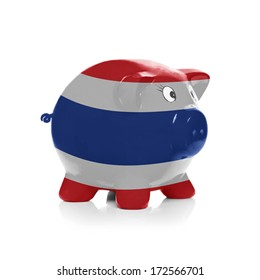Piggy bank with flag painted over it isolated on white - Thailand