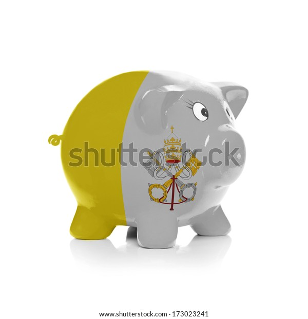 Piggy bank with flag painting over it isolated on white - Vatican City