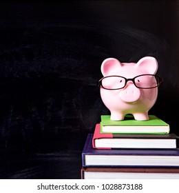 Piggy bank glasses blackboard square