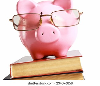 piggy bank with glasses and book isolated white background.