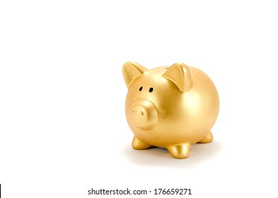 Piggy bank (Gold) isolated on white background.