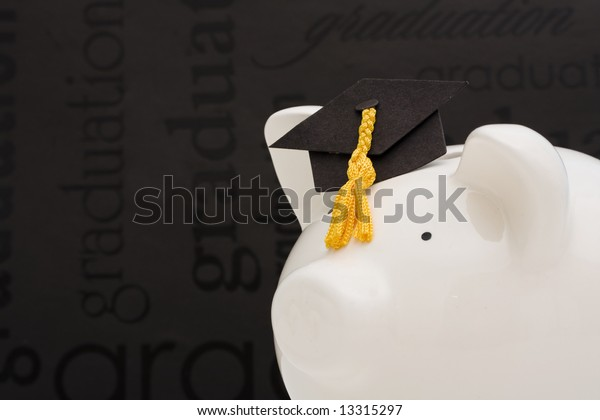 Piggy bank with graduation cap –cost of education